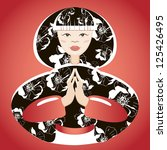 beautiful  japanese woman hands ...   Shutterstock . vector #125426495