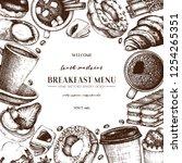 breakfast menu design. hand... | Shutterstock .eps vector #1254265351