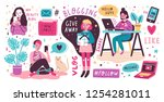 blogging and vlogging set. cute ... | Shutterstock .eps vector #1254281011