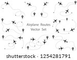 airplane route vector set. line ... | Shutterstock .eps vector #1254281791