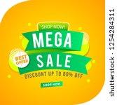 mega sale banner green ribbon... | Shutterstock .eps vector #1254284311