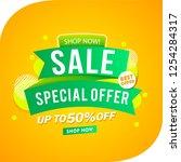 sale banner green ribbon design ... | Shutterstock .eps vector #1254284317