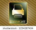 golden badge with printer icon ... | Shutterstock .eps vector #1254287434