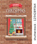 christmas greeting card with...   Shutterstock .eps vector #1254289564