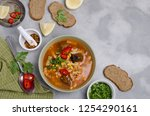 thick red soup with pasta ... | Shutterstock . vector #1254290161