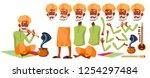 indian old man vector. senior... | Shutterstock .eps vector #1254297484
