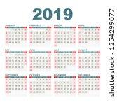 calendar 2019 year in simple... | Shutterstock .eps vector #1254299077