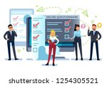 online questionnaire. people... | Shutterstock .eps vector #1254305521