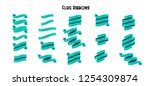 vector set of flag cyan ribbons.... | Shutterstock .eps vector #1254309874