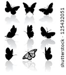 Stock vector black and white butterfly icons eps vector grouped for easy editing no open shapes or paths 125432051