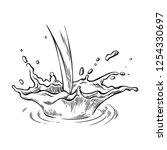hand drawn sketch water or milk ... | Shutterstock .eps vector #1254330697