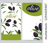 label with black olive branches.... | Shutterstock .eps vector #1254335587