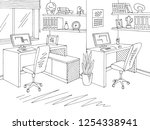 office graphic black white... | Shutterstock .eps vector #1254338941