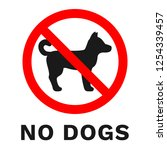 no dogs sign. sticker with... | Shutterstock .eps vector #1254339457