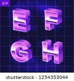 80 s retro alphabet font.... | Shutterstock .eps vector #1254353044