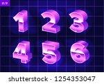 80 s retro alphabet font.... | Shutterstock .eps vector #1254353047
