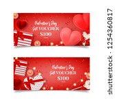 valentine's day gift voucher... | Shutterstock .eps vector #1254360817