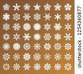 collection of golden snowflakes ... | Shutterstock . vector #1254360877