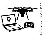 drone icon vector with black... | Shutterstock .eps vector #1254371167