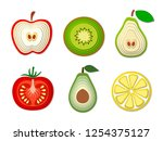 set of paper cut fruits and... | Shutterstock . vector #1254375127