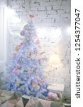 decorated blue christmas tree ... | Shutterstock . vector #1254377047