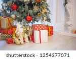 decorated christmas tree  with... | Shutterstock . vector #1254377071