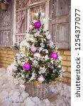 decorated christmas tree... | Shutterstock . vector #1254377077