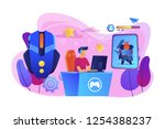 gamer plays role playing game...   Shutterstock .eps vector #1254388237
