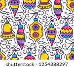 christmas balls toys doodle... | Shutterstock .eps vector #1254388297