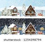 winter background set  night... | Shutterstock .eps vector #1254398794