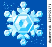 crystal realistic icy snowflake.... | Shutterstock .eps vector #1254403171