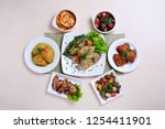 indonesian variety food flat... | Shutterstock . vector #1254411901