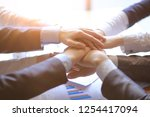 close up of people holding... | Shutterstock . vector #1254417094