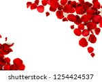 Stock photo flowers background red roses petals and red small hearts on white background top view copy space 1254424537