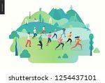 marathon race group   flat... | Shutterstock .eps vector #1254437101