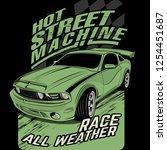 hot street machines  vector car ... | Shutterstock .eps vector #1254451687
