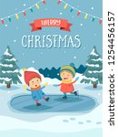 christmas greeting card with...   Shutterstock .eps vector #1254456157