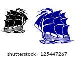 Galleon Sail Ship In Ocean...