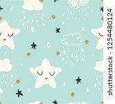 seamless scandinavian childish... | Shutterstock .eps vector #1254480124