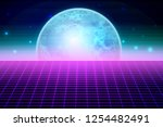 retro sci fi background with... | Shutterstock .eps vector #1254482491