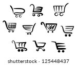 shopping cart icons set for... | Shutterstock .eps vector #125448437