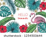 tropical design template. hello ... | Shutterstock .eps vector #1254503644
