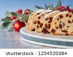 christmas stollen on white blue ... | Shutterstock . vector #1254520384