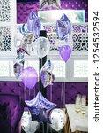 birthday party decor. silver... | Shutterstock . vector #1254532594