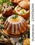 easter yeast cake with icing... | Shutterstock . vector #1254536344