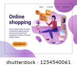 landing page template of online ... | Shutterstock .eps vector #1254540061