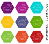 car and key icons 9 set coloful ... | Shutterstock .eps vector #1254540721