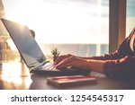 cozy workplace in home office... | Shutterstock . vector #1254545317
