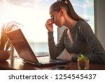 eye fatigue after long work at...   Shutterstock . vector #1254545437