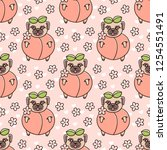 cute seamless pattern with dog... | Shutterstock .eps vector #1254551491